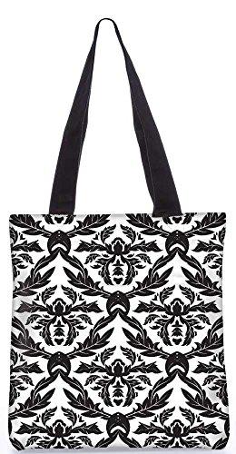 """Snoogg Schwarze Blätter-Muster-Einkaufstasche 13,5 X 15 In """"Einkaufstasche Dienstprogramm Trage Aus Polyester Leinwand"""