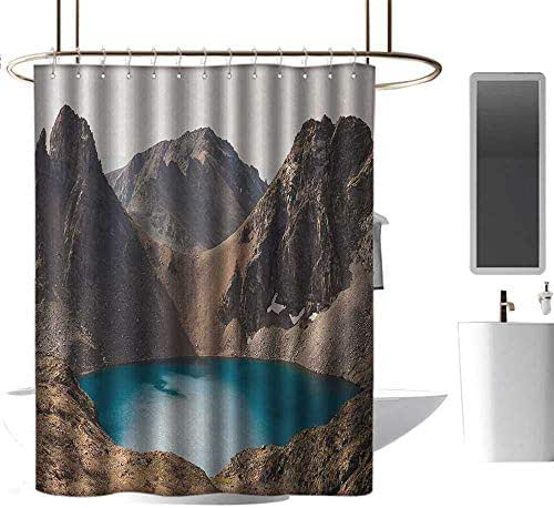 Qenuan Waterproof Fabric Shower Curtain Landscape,Secret Lake on The Rock Mountain Resort Stunning Nature Earth Landscape Photo,Brown Teal,Washable,Durable,Brick Dobby Pattern for Bathroom 54