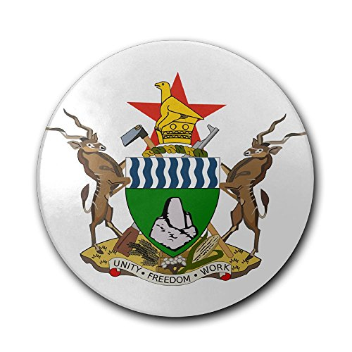 Loveoorheebe65 Premium Quality Round Coffee Bar Coasters Coat Of Arms Of Zimbabwe Cork Ceramic Coasters Round Tea Cup Mat Drink Coasters