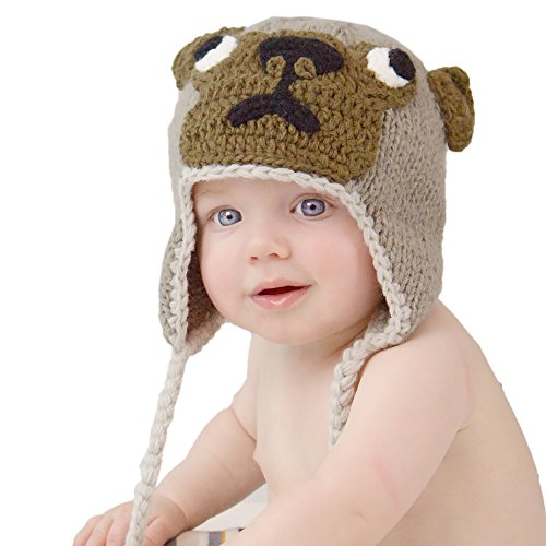 Huggalugs Girls Boys Pug Puppy Dog Beanie Hat Small (0-6m) -