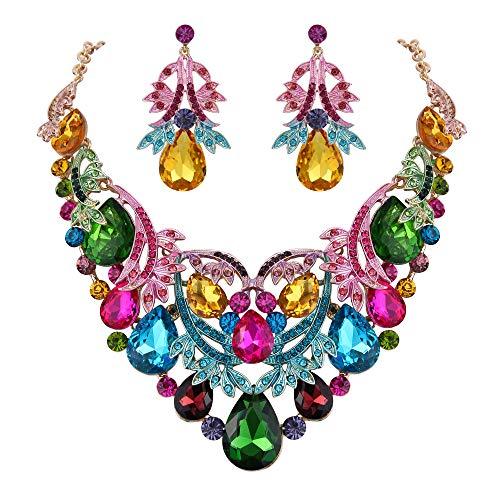 BriLove Gold-Toned Statement Necklace Dangle Earrings Jewelry Set for Women Bohemian Boho Crystal Teardrop Filigree Leaf Hollow Jewelry Set Multicolor Colorful Crystal Teardrop Necklace Earrings
