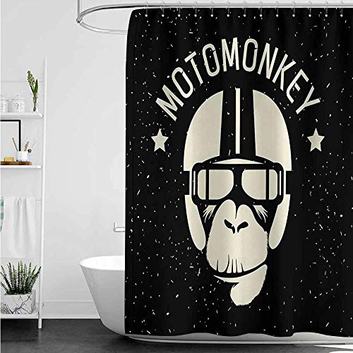 home1love Bathroom Curtains,Outer Space Sign Alien Monkey with