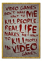 Video Games Don't Make Me Want To Kill Poster Magnetic Notice Board Oak Framed - 96.5 x 66 cms (Approx 38 x 26 inches)