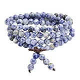 JOVIVI 6mm 8mm Natural Sodalite Stone Healing Gemstone 108 Buddhist Prayer Beads Tibetan Mala Stretch Bracelet Necklace