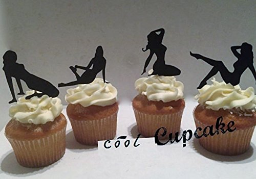 Various Designs of Pole Dancers/High Heels/Corset/Glasses/Bride & Groom Cupcake Toppers for Birthday/Bridal Shower/Wedding/New Years Events/Party/Bachelor Party sets of 12… (Sexy Pin Up Silhouettes) by The Crafty Owl
