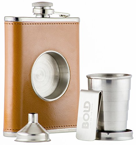 8-oz-304-stainless-steel-brown-leather-hip-flask-shot-flask-with-built-in-collapsible-2-oz-shot-cup-