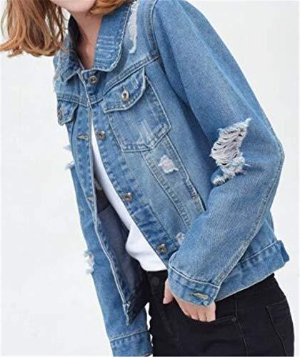 Di Elegante Autunno Anteriori Manica Giacca Corto Cappotto Women Bavero Single Moda Donna Giaccone Breasted Blue2 Giacche Lunga Light Casual Giovane Tasche Jeans ETqdqPSzw