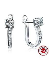 YL Women's 925 Sterling Silver Cubic Zirconia Hoop Dangle Earrings-Huggie Hoop Earrings for Women,White Gold Earring Hoops Gift for Teens Girls