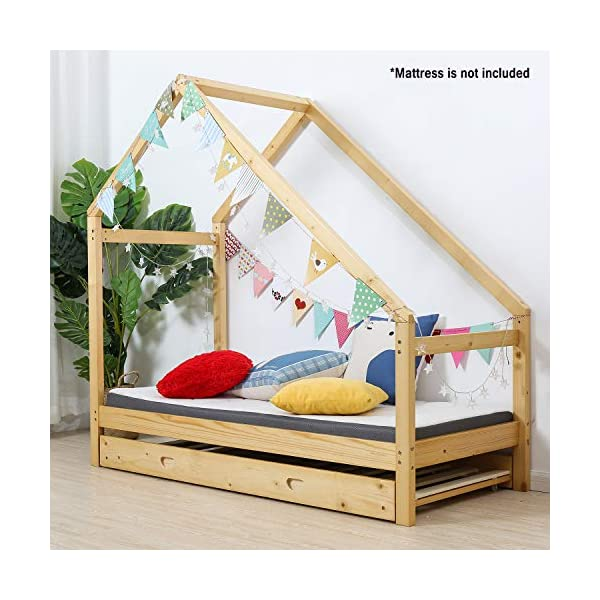 UHOM Children Wood Bed Toddler House Frame Bed Tent Floor Double Bed, Twin Size Bedroom Furniture 5