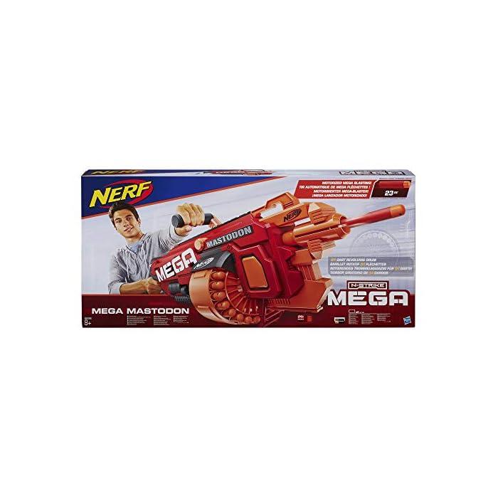 51Tnw%2BN4SqL El primer lanzador Nerf Mega totalmente motorizado Tambor giratorio de 24 dardos Incluye 24 dardos Mega