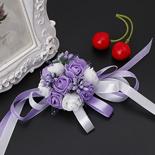 Qisuw Beautiful Wrist Corsage Bracelet Bridesmaid Sisters Hand Flowers Wedding Party Decorations DIY Crafts Valentine's Day Mother's Day Girlfriend Birthday (Purple White Flower & Purple Bead) ()