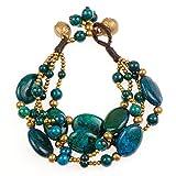 Brass and Genuine Blue Green Chrysocolla Gemstone Multi Strands Bracelet