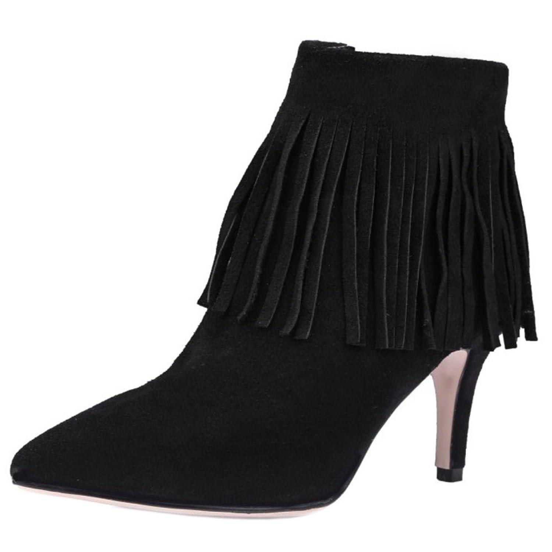 RAZAMAZA Women Western Pointed Toe Fringe High Heel Ankle