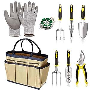 9piezas herramienta de jardín de aluminio fundido 6heads- jardín Tote- anti corte guantes de cocina Bind línea (US stock), beige