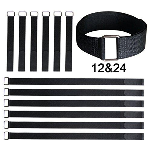 Vigaer 12 pcs Cinch Cable Tie Down Straps Set, 12 inch and 24 inch Reusable Hook and Loop Fastening Nylon Cable Tie Wraps with Metal Buckle (Velcro Cinch)