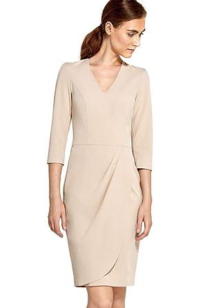 61f4b5b2ab8d34 VictoriaV nife Damen Kleid Etuikleid Cocktailkleid Abendkleid Drapierung ¾  Arm V-Ausschnitt Party Business Familienfeier
