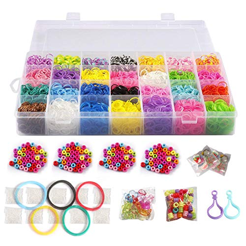 10,000 Rubber Bands Refill Pack Colorful Loom Kit Organizer for Kids Bracelet Weaving DIY Crafting with Crystal-Like Charms,500 S-Clips,Mini Hook and 175 Beads (Xmas Present Set in Rainbow Color)]()
