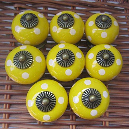 Tangpan 30mm Ceramic Spot Dargon Ball Door Handle Pull Knobs Cabinet Door Cupboard Drawer Locker Vintage Retro Gold Pack of 8 Color Yellow ()