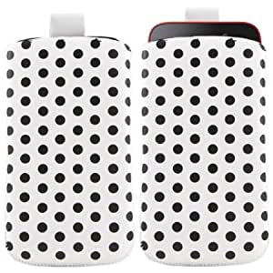 Bloutina iTALKonline WHITE BLACK POLKA DOTS Quality PU Leather Slip Pouch Protective Case Cover with Pull Tab for HTC Titan...