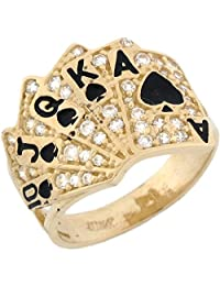 14k Real Solid Gold CZ Royal Flash Poker Card Enamel Lucky Unisex Ring
