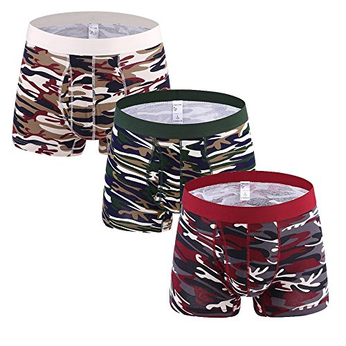 Camo Boxer Briefs for Men Pack Plus Size Breathable Cotton Underwear Stretch Waistband Men Boxers S-4XL 3Pack -