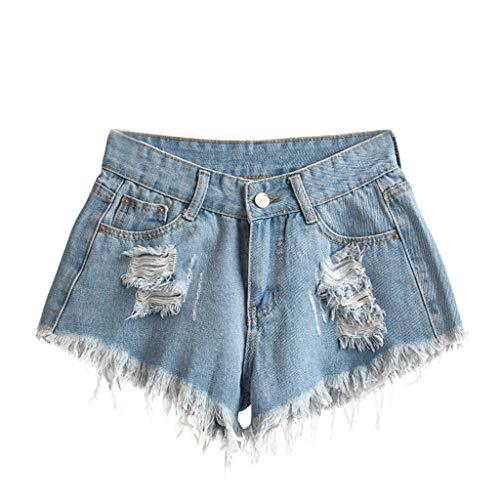 telaite Women's Short Price, Classic Hole High Waist Denim Shorts Slim Sexy Pants(Blue,XL)
