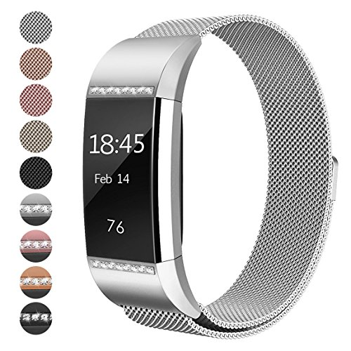 For Fitbit Charge 2 Bands, hooroor Milanese Stainless Steel Metal Strap with Unique Magnet Lock Replacement Band for Fitbit Charge 2 (1 Pack Silver Band with White Diamond, Small Size 5.3