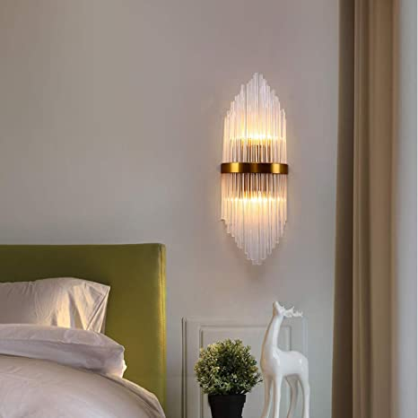 HQCHAN Wall Light, Crystal Wall Sconce Lighting for Kitchen Bathroom  Hallway Without Flicker, Wall Mount Light Fixture