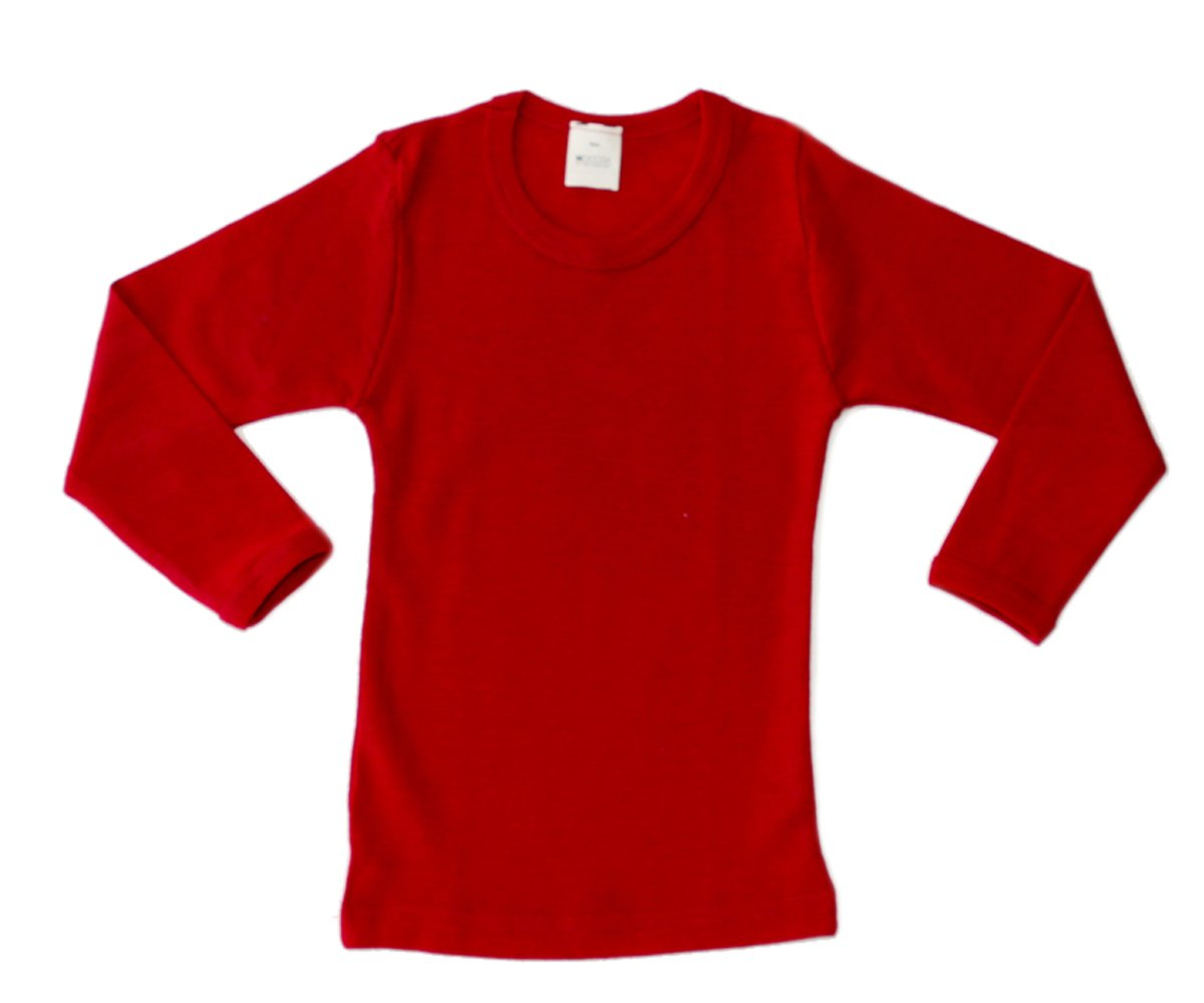 Hocosa of Switzerland Little Boys Organic Wool Long-Sleeved Undershirt, Solid Red, s. 104/4 yr by Hocosa of Switzerland