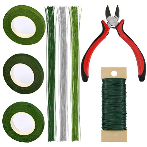 TIMESETL 8 Pack Floral Arrangement Tools Kit Include Wire Cutter, 3 Pack 26 Gauge Floral Stem Wire, 22 Gauge Floral Wire and 3 Roll Floral Tapes for Bouquet Stem Wrap Florist