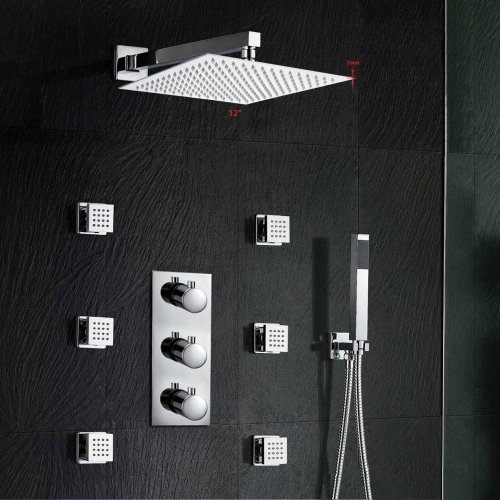 LightInTheBox 12Inch Thermostatic Wall Mount Shower Faucet Three Handles Rainfall Shower Mixer Shower Massage Jet Bathroom Lavatory Shower System