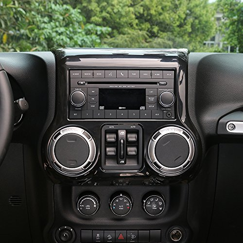Panel Center Trim (RT-TCZ Inner Accessories Center Console Dashboard Control Panel Cover Trim For Jeep Wrangler JK & Unlimited 2011-2017(BLACK))