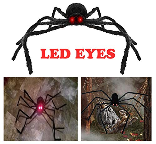 AISENO Giant Spider 4.2FT/125cm with LED Eyes Spooky Sound Halloween Decorations Outdoor Foldable Spider]()