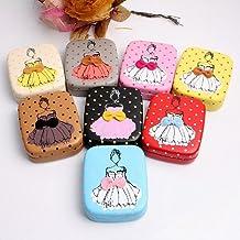 AwesomeMall Lovely Ballet Girl Pattern Leather Contact Lens Case Travel Kit Set Color in Random
