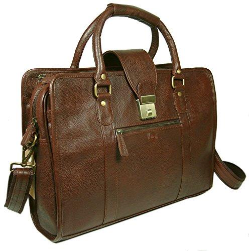 LeftOver Studio Genuine Leather Unisex Laptop Bag Organizer Briefcase Messenger Bag with Combination Lock by Leftover Studio (Image #7)