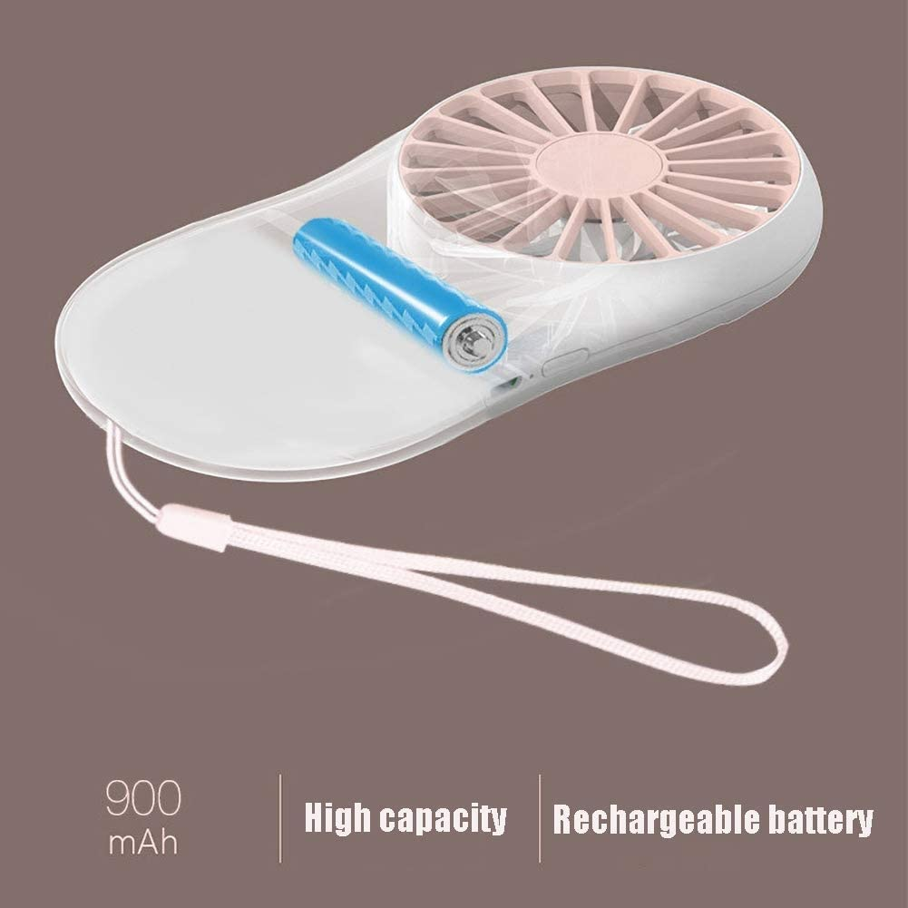 Color : Pink Pack of 2 Fengshan Handheld Mini Portable Outdoor Fan with Lanyard and Rechargeable 900 MAh Battery,for Home Travel