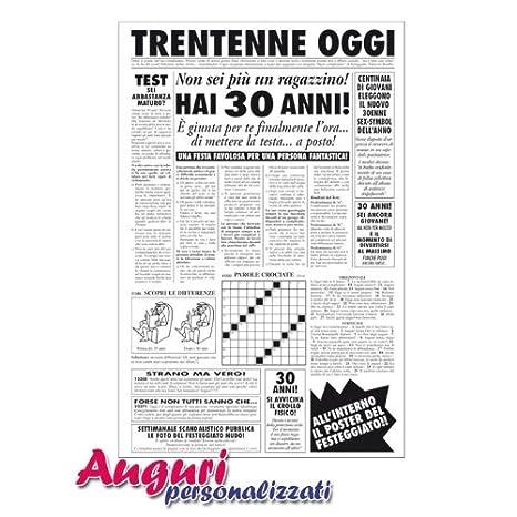 Biglietto auguri giornale compleanno 30 anni amico: Amazon.it