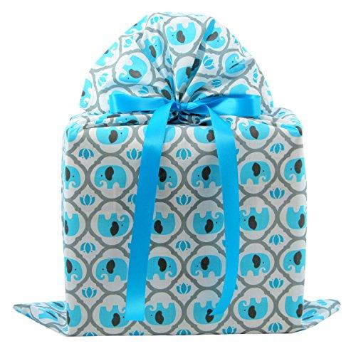 Elephants Large Reusable Fabric Gift Bag