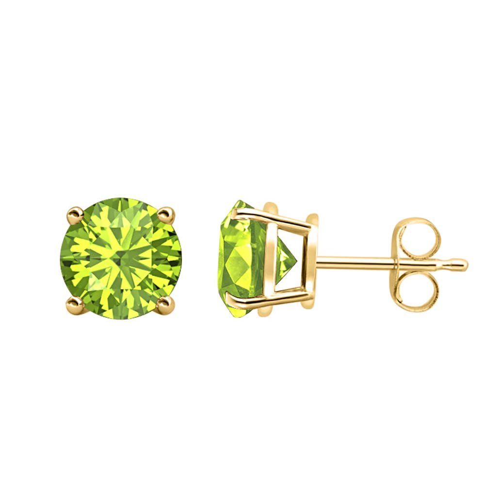 3MM TO 10MM Fancy Party Wear Round Cut Peridot Solitaire Stud Earrings 14K Yellow Gold Over .925 Sterling Silver For Womens /& Girls