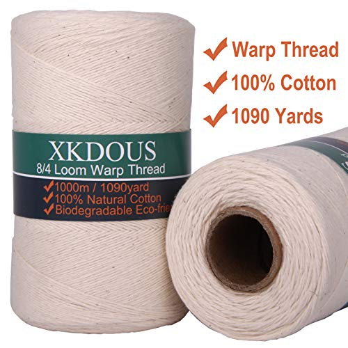 Warp Thread 100% Cotton Warp Yarn for Weaving Loom, 1090 Yards 8/4 Natural Cotton Weaving Thread, Perfect Durable Warping Thread for Weaving Carpet Tapestry Rug Blankets and Other Patterns