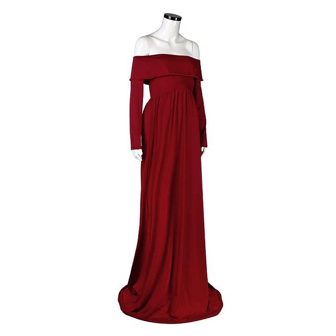 SODIAL Vestido de maternidad Vestidos de fotografia de maternidad Vestido de embarazada de hombro abierto (Rojo, M): Amazon.es: Ropa y accesorios