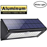 2018 Newest! Licwshi 1100lm Solar Outdoor Lights 4500mAh Black Aluminum Alloy 120° Infrared Motion Sensor, Waterproof IP65 Security Lights, 4 Mode, for Garage, Stairway, Gate - White Light