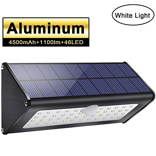 2019 Newest! Licwshi 1100lm Solar Outdoor Lights 4500mAh Black Aluminum Alloy 120° Infrared Motion Sensor, Waterproof IP65 Security Lights, 4 Mode, for Garage, Stairway, Gate, Fence - White Light (Number Solar House Light)
