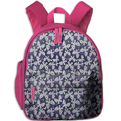 (Teen'sSchool Backpack with Pocket Butterfly Butterflies with Flower Patterned Wings Aract Animal Ornate Insect rk)