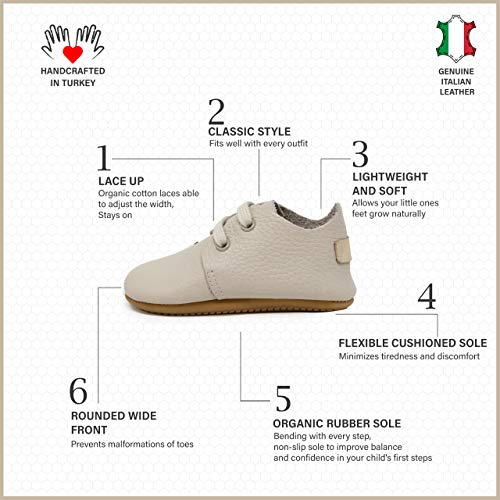 Ella Bonna Oxford Baby Boy Shoes, Rubber and Soft Sole, Leather Baby Shoes, Toddler Girl Baby Walking Shoes, Newborn Infant Mini Kids Crib Baby Moccasins
