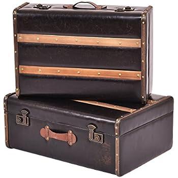 Elegant Goplus Set Of 2 Vintage Suitcase, Old Style Suitcase, Retro Antique Luggage,  Train