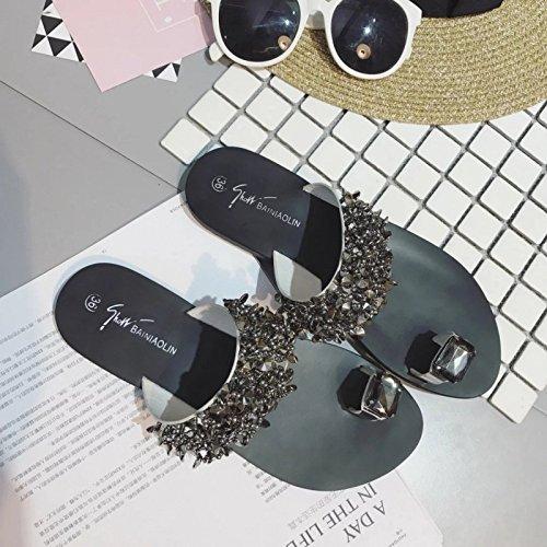 35 Silver Clip Pantoufles avec 36 XING Strass Toe Plat Été Sandales Coréen Et Plat Pantoufle GUANG Silver999 Nouveau des des Femme ZwgxRqTZ4