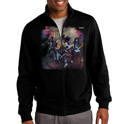 Zepu Men's Sweatshirt Kiss ALIVE ROCK N ROLL Print Full-zip Hoodie Jacket L Black