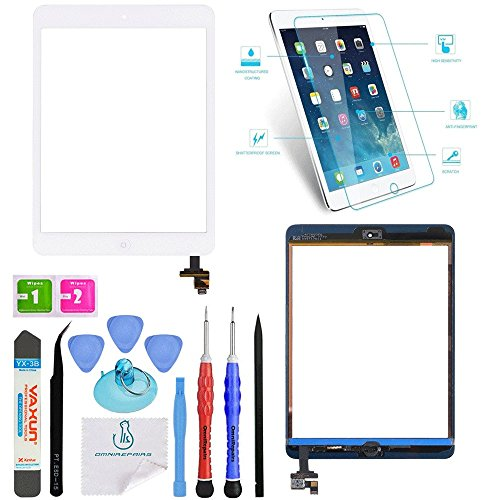 2nd Generation Replacement - OmniRepairs For White iPad Mini (1st and 2nd Generation) Retina Display Touch Screen Digitizer Glass OEM Assembly with Home Button, IC Chip, Adhesive Tape, Screen Protector, and Premium Repair Toolkit