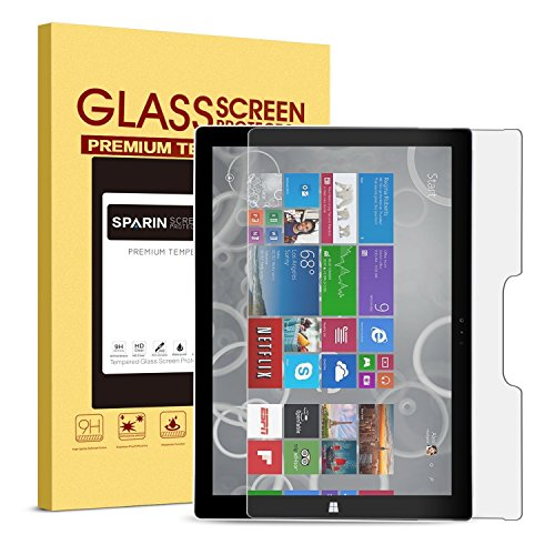Surface Pro 4 Screen Protector  Tempered Glass   Sparin Ultra Clear High Definition Tempered Glass Screen Protector For Microsoft Surface Pro 4 12 3 Inch  2015 Version   Windows 10 Anniversary Update